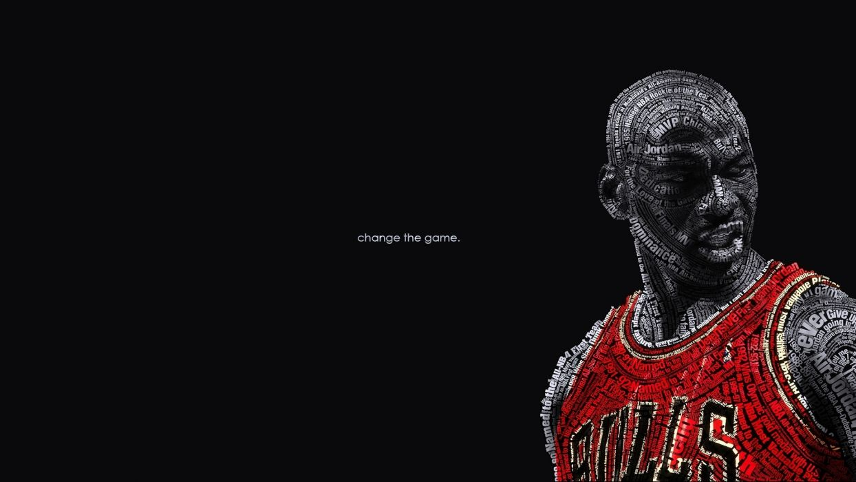 text wall typography the game change nba basketball michael jordan chicago bulls wallpaper