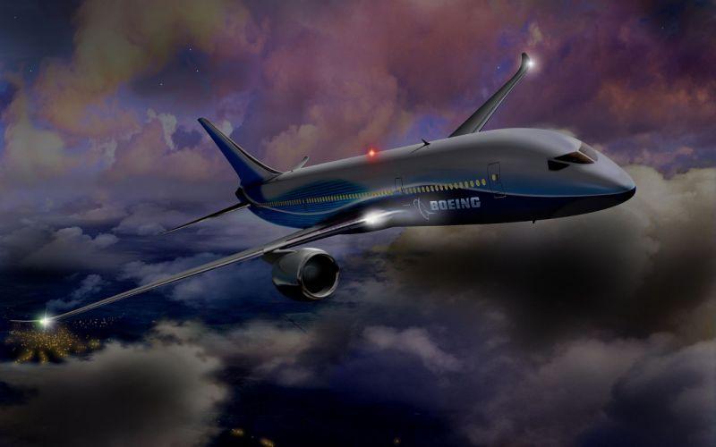 Boeing-night-flight wallpaper