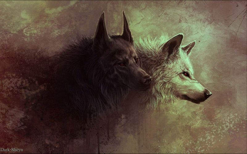 Paintings-animals-grunge-red-eyes-artwork-wolves wallpaper