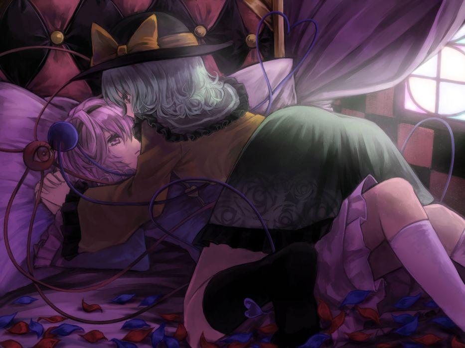girls bed hat kneehighs komeiji koishi komeiji satori touhou yuri wallpaper