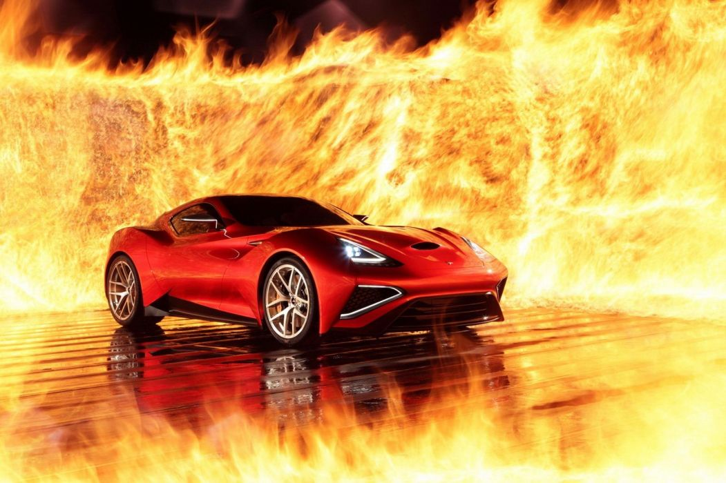 2013 Icona Vulcano hybrid supercar supercars fire wallpaper