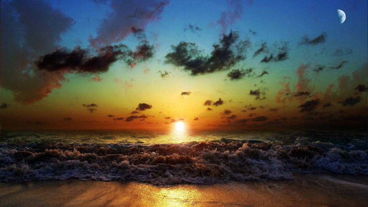 sunset beach skyscapes sea wallpaper