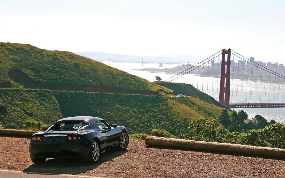 landscapes cars Golden Gate Bridge Tesla wallpaper