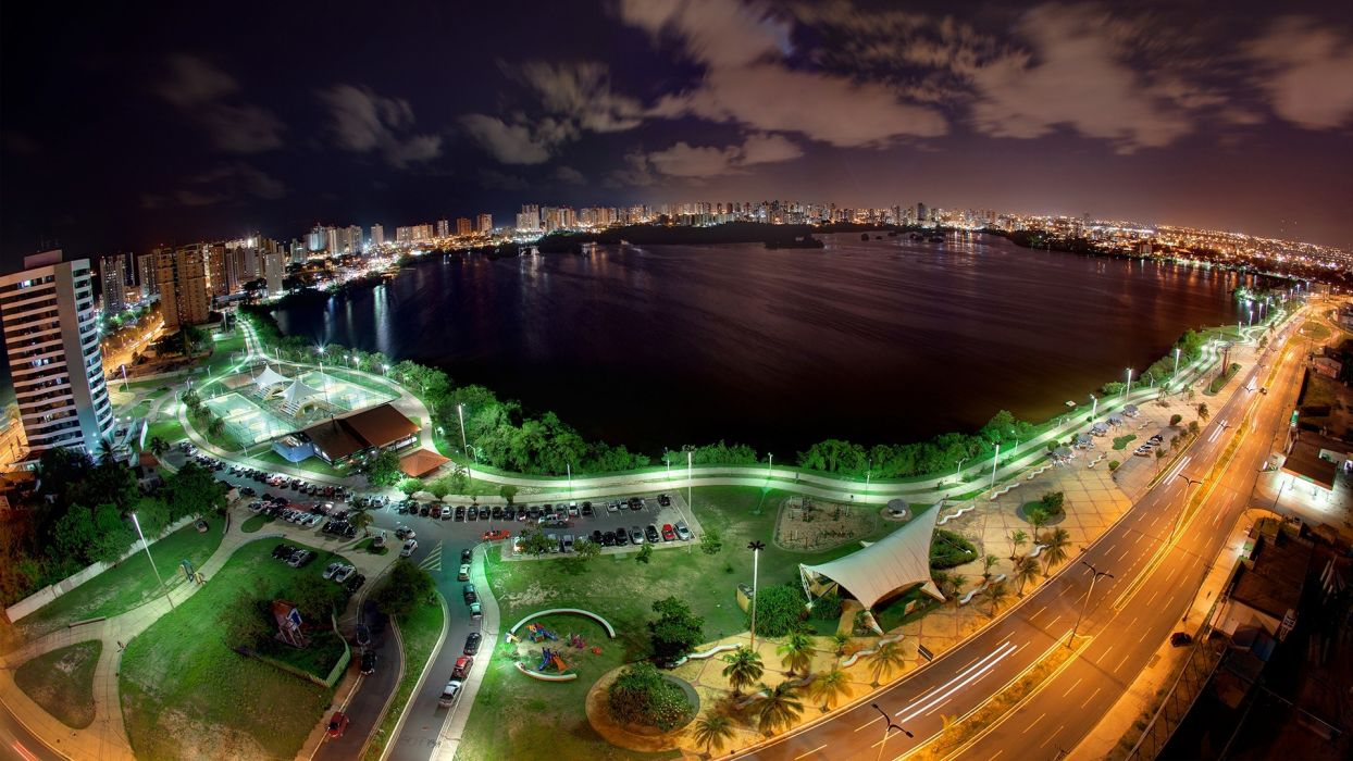 landscapes night cars roads lakes cities wallpaper
