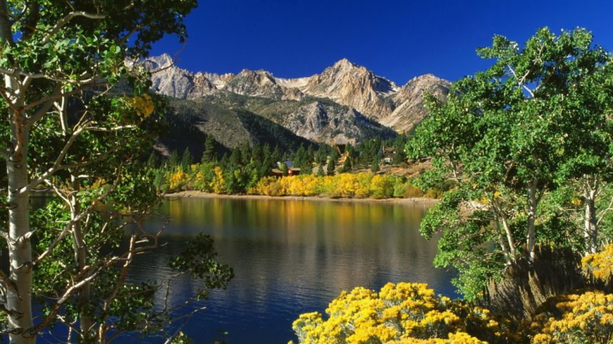mountains landscapes nature trees lakes wallpaper