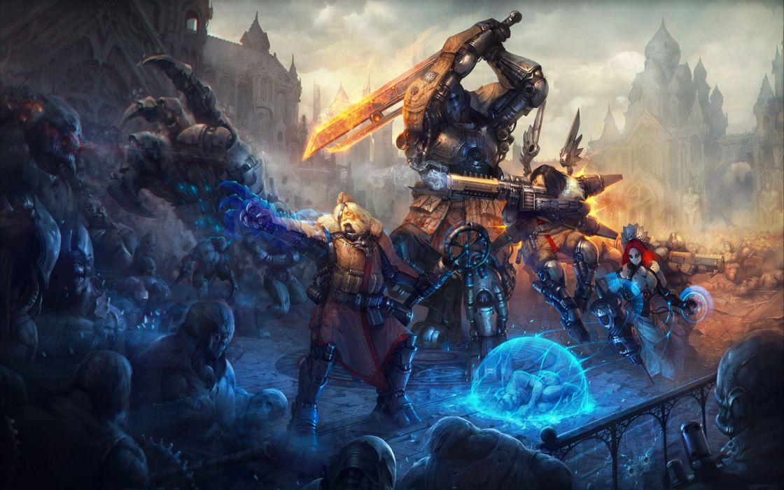 Battles Warriors Armor Fantasy battle weapon weapons magic sci-fi science dark wallpaper