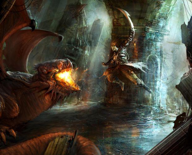 Battles Warriors Flight Fantasy battle monster monsters fir warrior weapon weapons sword swords wallpaper