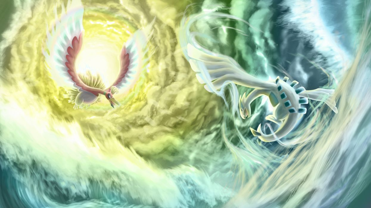 clouds ho-oh lugia pokemon water wallpaper