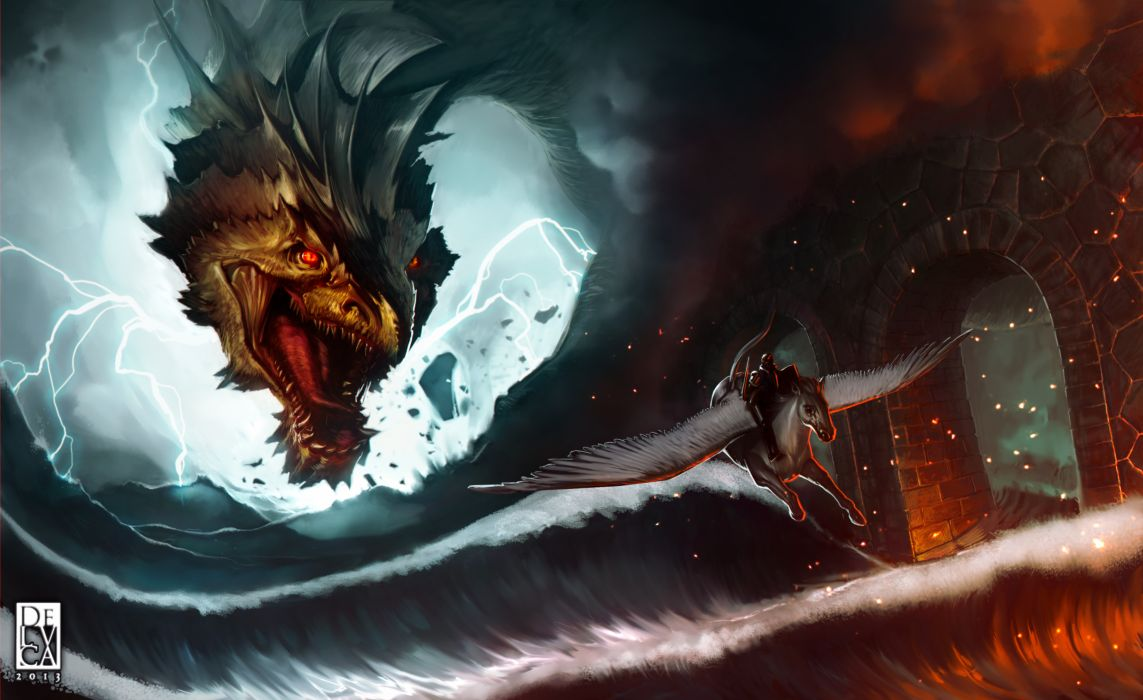 Dragons Waves Pegasus Head Flight Fantasy dragon wallpaper