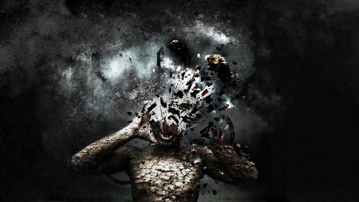 explosion shatter dark horror scream wallpaper