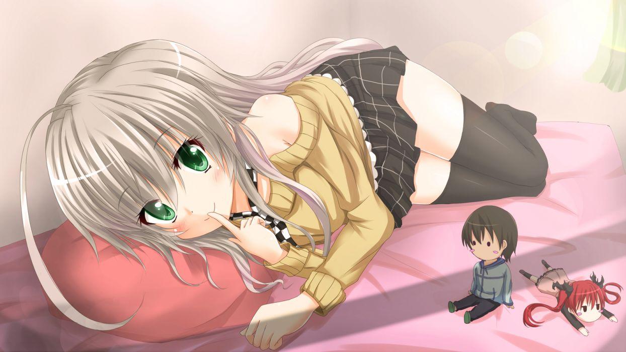 haiyore! nyaruko-san chibi green eyes kilias kuuko nyaruko skirt tagme thighhighs yasaka mahiro wallpaper