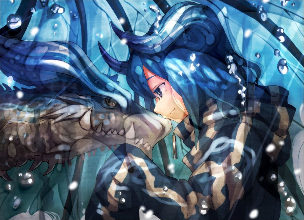original blue eyes blue hair bubbles dragon horns monkymonky wallpaper