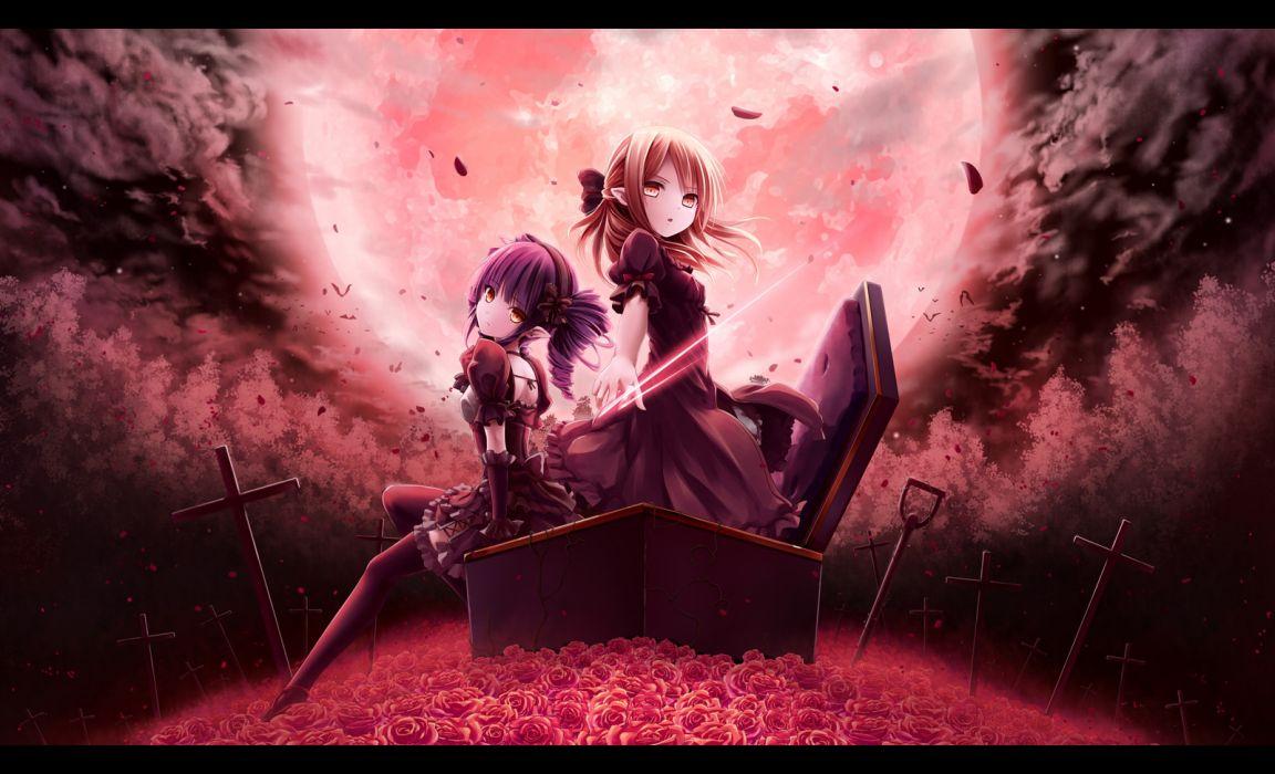 original gothic dark girls akkijin cross flowers goth-loli moon petals rose tagme wallpaper