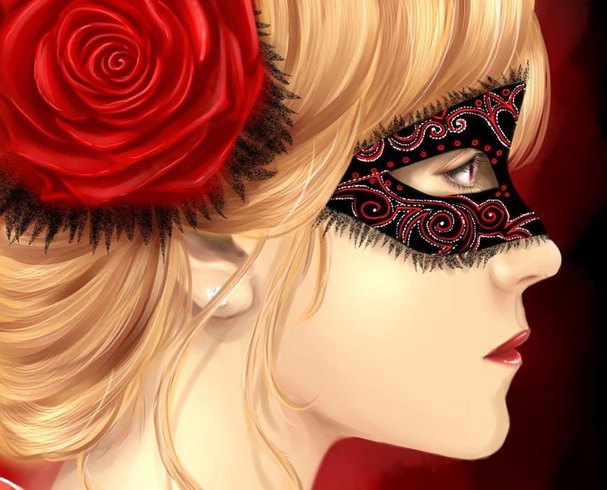 Painting Art Roses Masks Head Girls girl fantasy mask paintings face women wallpaper