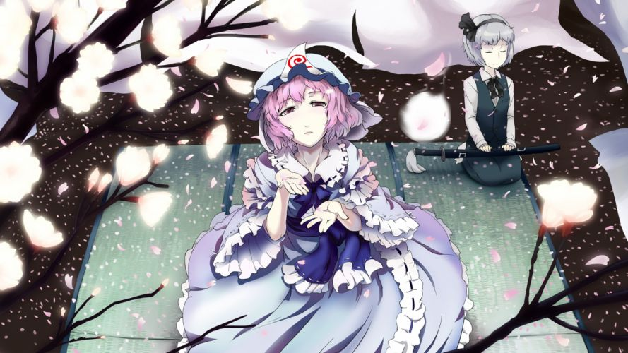 touhou cherry blossoms katana konpaku youmu petals saigyouji yuyuko sinzan sword touhou weapon wallpaper