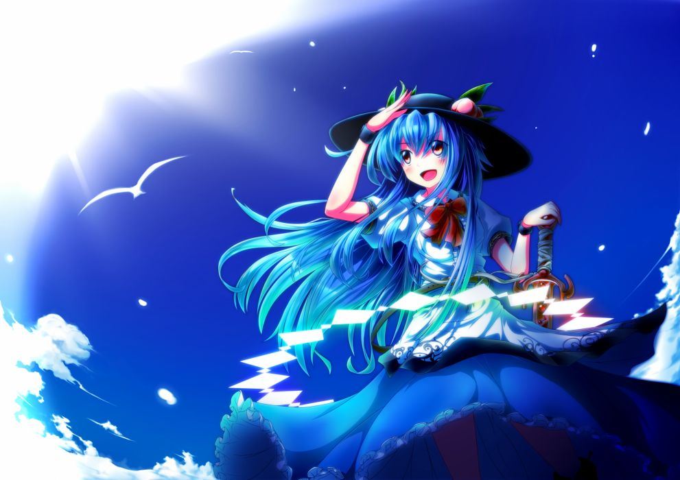 touhou animal bird blue hair bow clouds dress hat hinanawi tenshi leaves long hair orange eyes sky sword touhou ugume weapon wallpaper