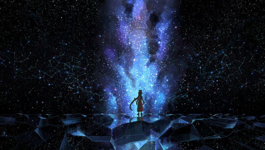 touhou night scenic seeker sky space stars yagokoro eirin wallpaper