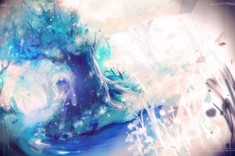 vocaloid forest hatsune miku jpeg artifacts sleeping tree water wallpaper