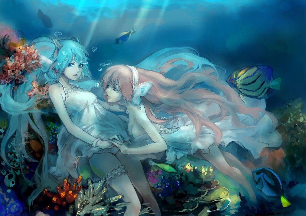 vocaloid girls amo11315 animal bubbles dress fish hatsune miku magnet (vocaloid) megurine luka underwater vocaloid wallpaper