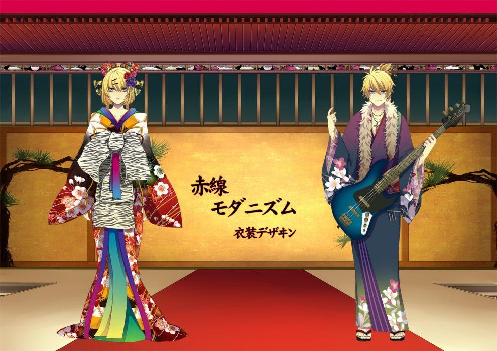 vocaloid guitar instrument japanese clothes kagamine len kagamine rin kimono vocaloid wallpaper