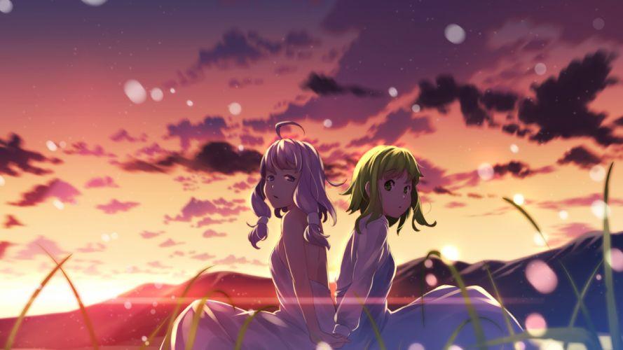 vocaloid girls clouds dress green hair gumi sky sunset vocaloid yuuji (yukimimi) yuzuki yukari wallpaper