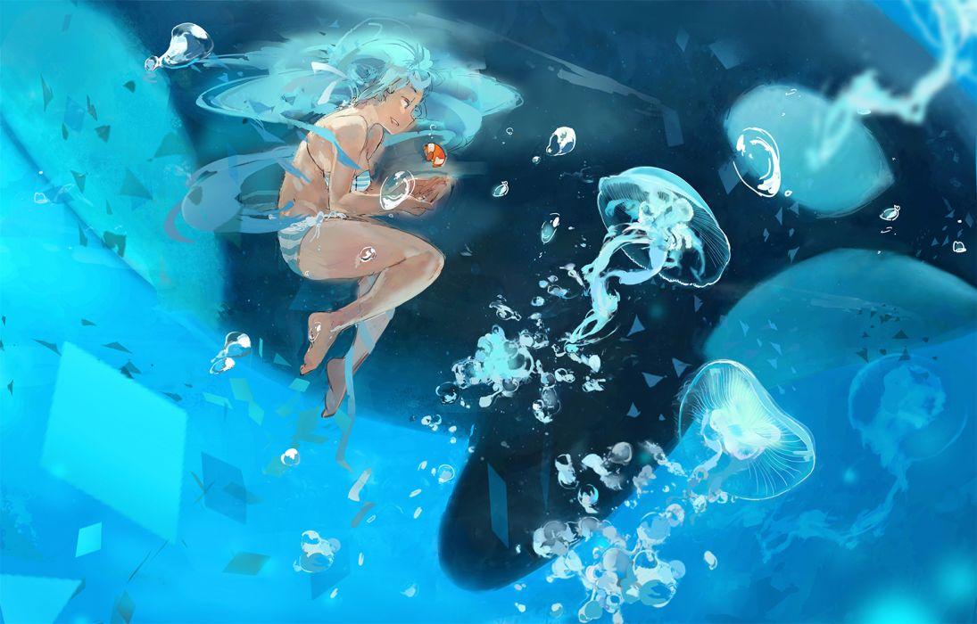 vocaloid underwater animal asascarlet bra bubbles fish hatsune miku panties striped panties underwater underwear vocaloid wallpaper
