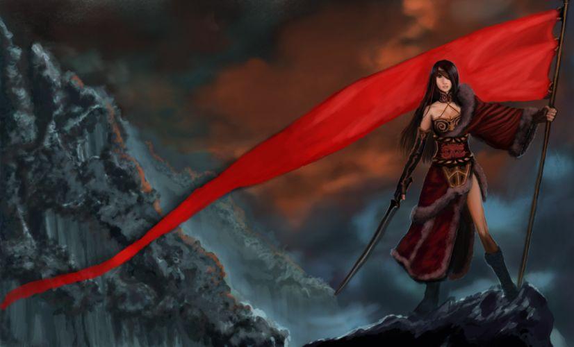 Warriors Flag Fantasy Girls warrior girl weapon weapons sword swords katana wallpaper