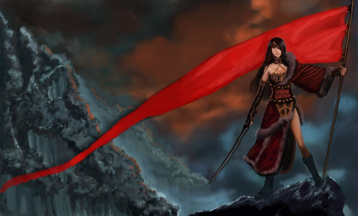 Warriors Flag Fantasy Girls warrior girl weapon weapons sword swords katana wallpaper