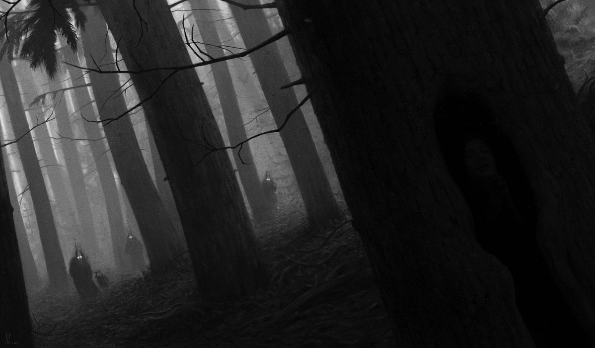 Werewolves Werewolf Wolf Wolves Dark Horror Creature Creatures Creepy Forest Trees Wallpaper