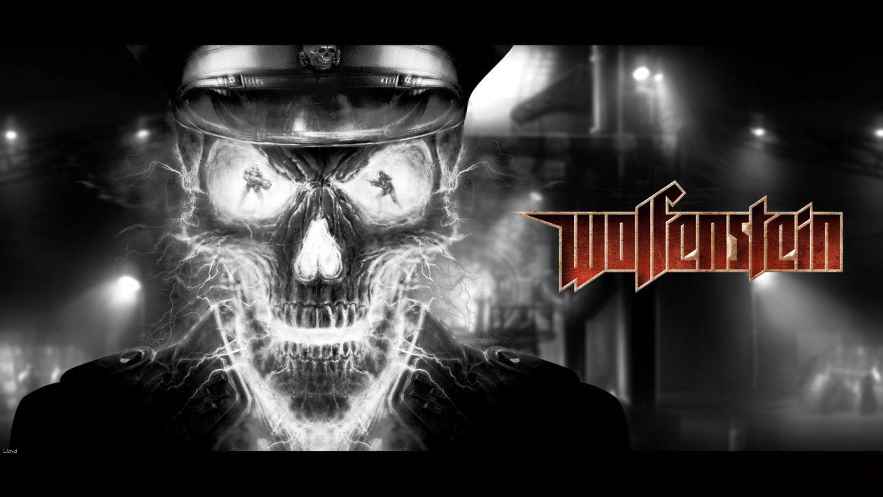 WOLFENSTEIN dark skull skulls  f wallpaper