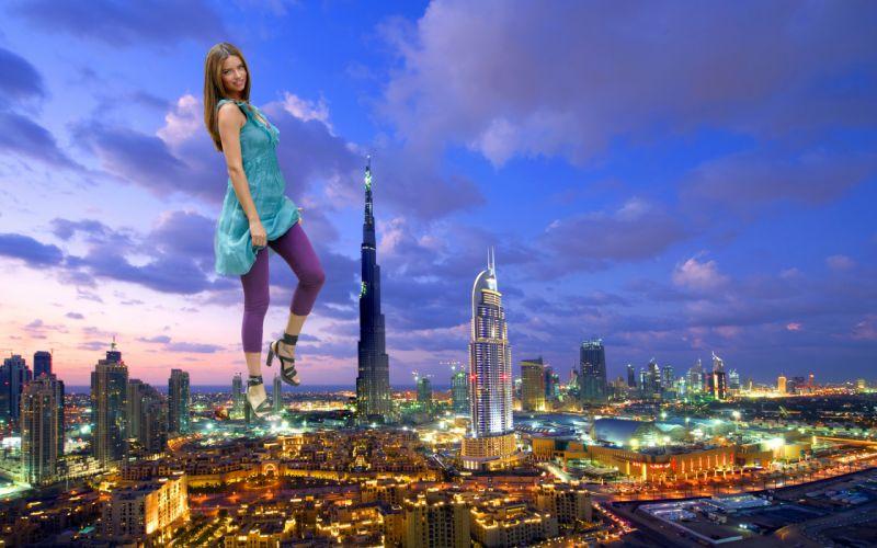 Burj Khalifa city women model brunette brunettes girl girls wallpaper