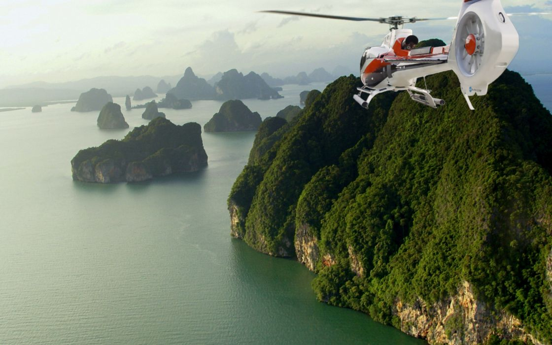 helicopter helicopters ocean sea islands island landscapes wallpaper