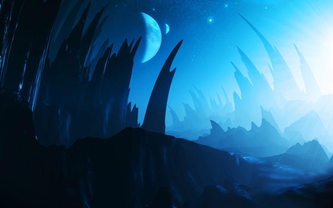 landscapes landscape alien planet planets stars sky moons wallpaper