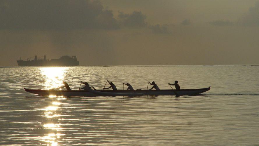 Saipan mood boat boats ship ships ocean sea reflection wallpaper