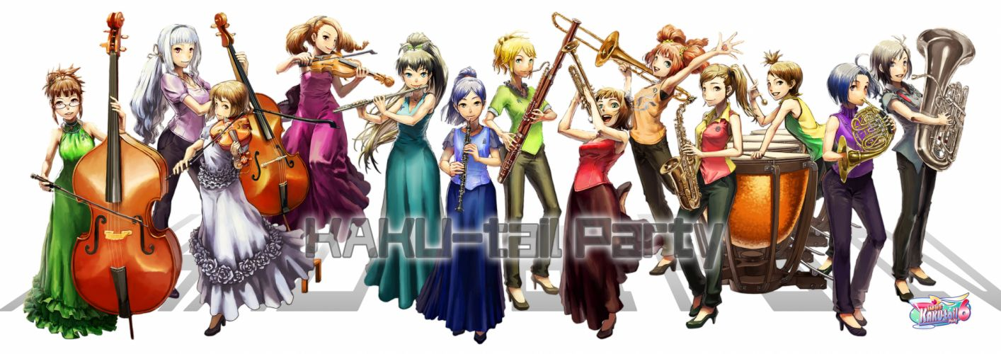 idolmaster amami haruka drums flute futami ami futami mami ganaha hibiki group hoshii miki instrument minase iori miura azusa shijou takane violin multi dual wallpaper