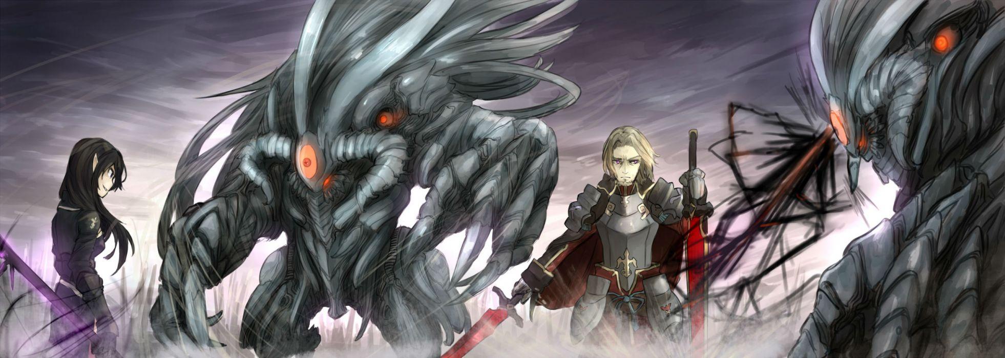 original armor black hair blonde hair original shiroganeusagi sword weapon wallpaper