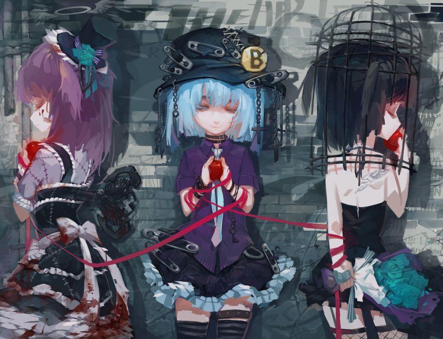 original apple blood cage chain choker dress halo hat original rained thighhighs trap dark wallpaper
