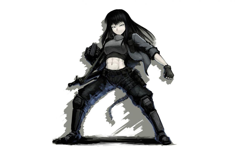 original armor black hair boots gloves gray eyes hellshock long hair weapon wallpaper