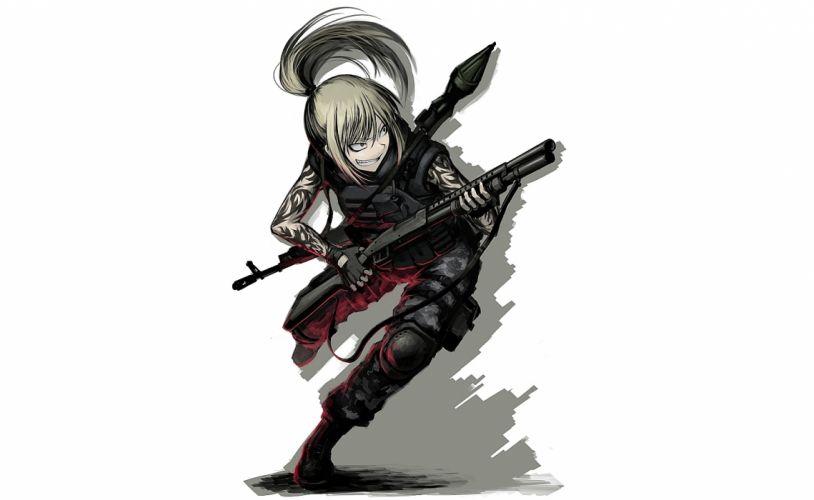 original armor blonde hair boots hellshock long hair ponytail tattoo weapon wallpaper