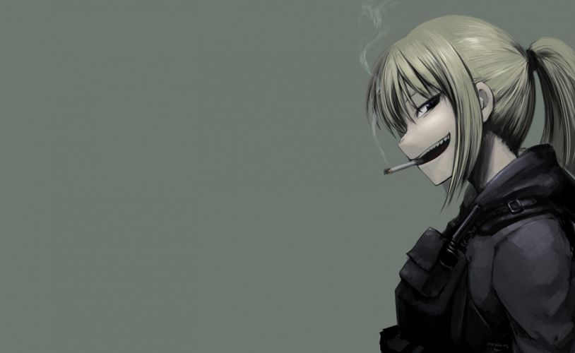 original armor blonde hair hellshock long hair ponytail smoking wallpaper