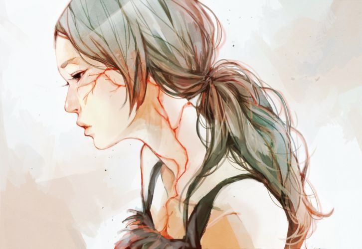 original blood brown hair original ponytail realistic red eyes scar dark wallpaper
