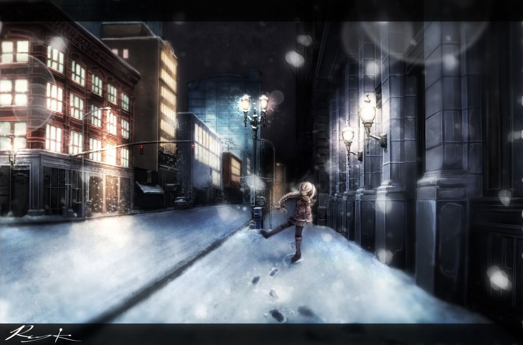utau braids night ray-k scarf sekka yufu snow utau wallpaper
