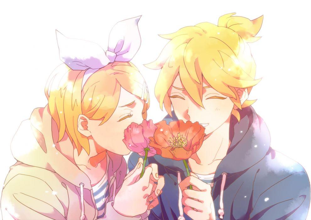 Vocaloid Kagamine Twins flower flowers love mood wallpaper