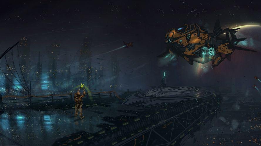 aircraft landing space people city spaceship spacecraft futuristic wallpaper
