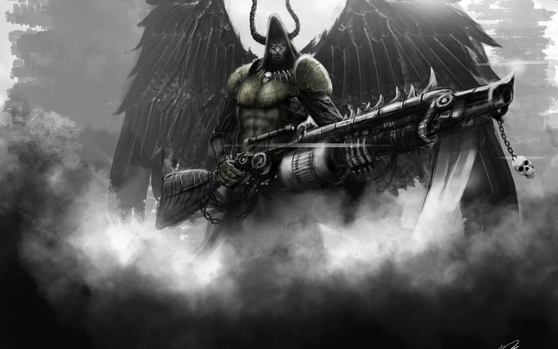 angel of death wings weapons man art dark fantasy weapon weapons gun guns warrior warriors wallpaper