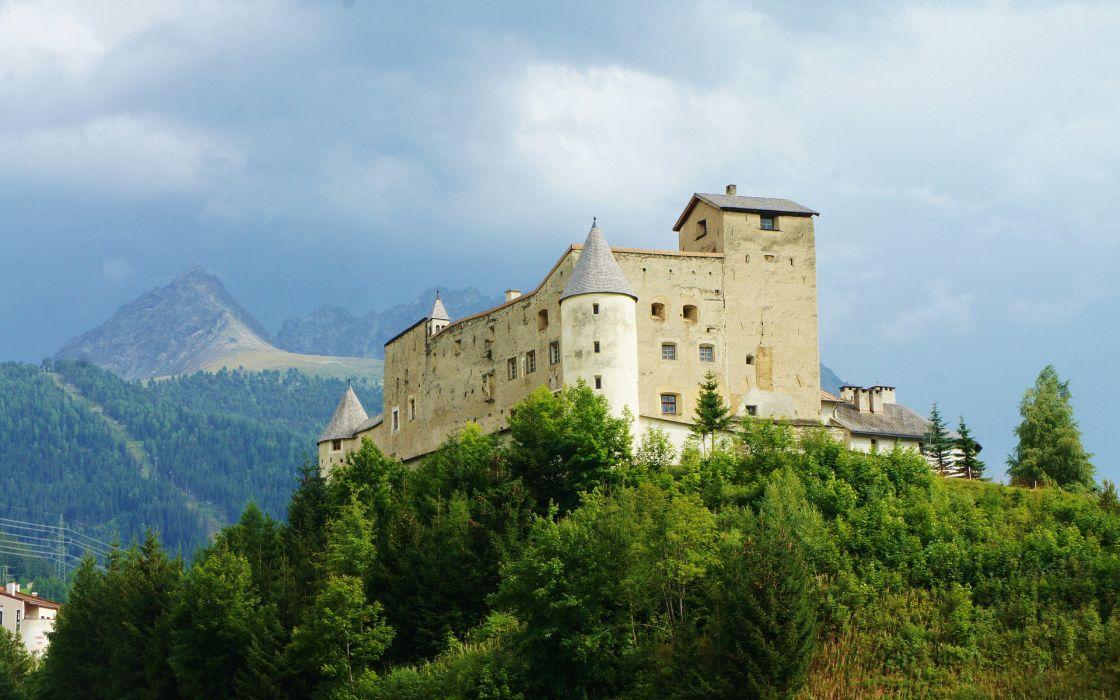 castello austria castle mountains trees landscape wallpaper