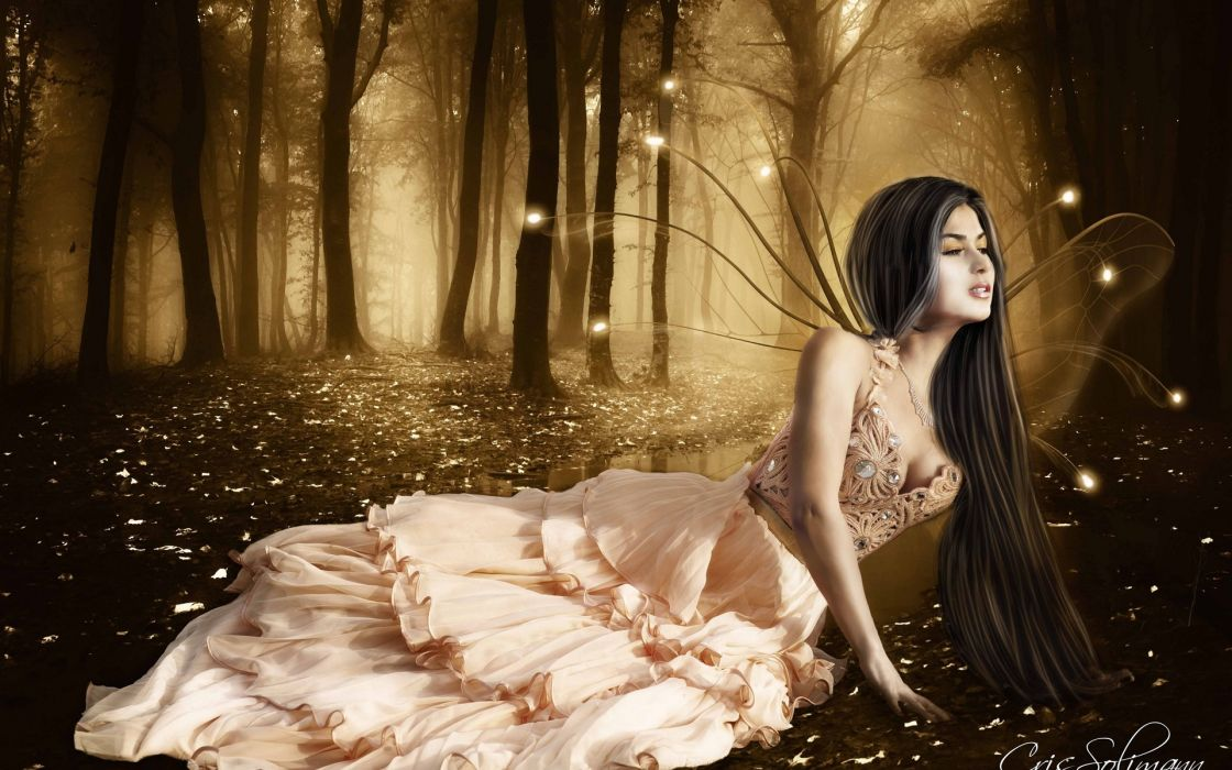 fairy forest trees mood wallpaper