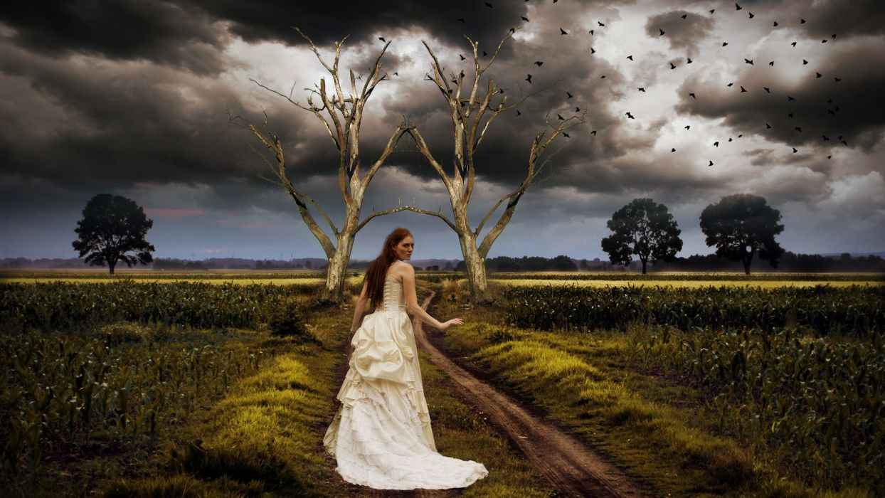 Fantastic Landscape Road Girl Clouds Nature Gothic Redhead