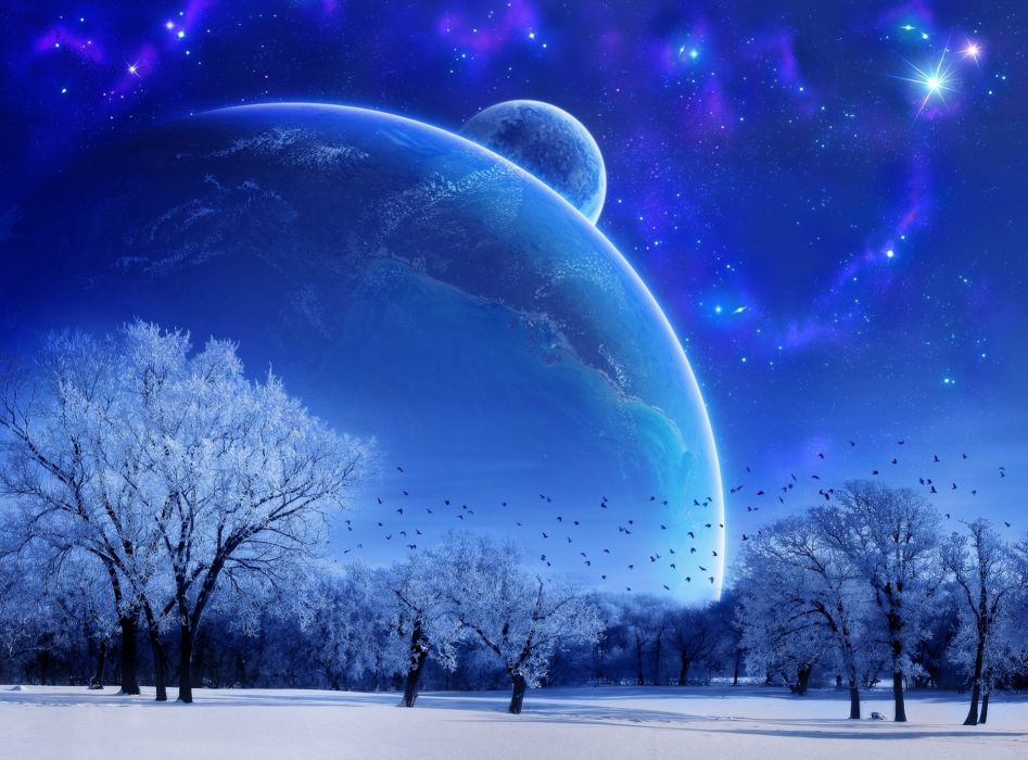 fantasy landscape moon planet planets winter snow trees sky night stars mood wallpaper