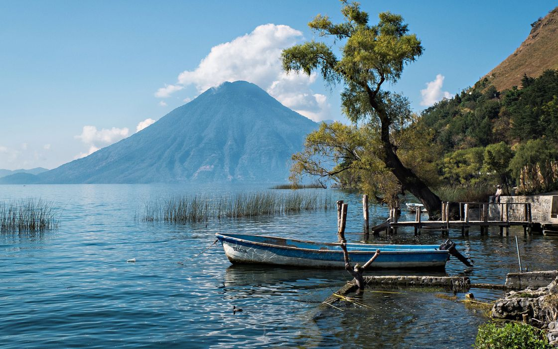 Guatemala boat tree lake volcano lakes boats reflection wallpaper